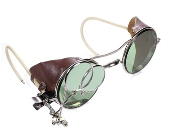 Steampunk Goggles Vintage American Optical Steam Punk Glasses GREEN Tint Brown LEATHER Side Shields Loupes Burning Man MINT - by edmdesigns