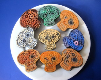 6 Day of the Dead Skull guest soaps, party favors. Pumpkin Eggnog fragrance. Set of 6 in a Gift Box.