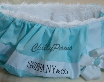 Shopping Cart Cover and Blanket - White Shaggy Minky - Dog Cart Cover  - Personalized - Robin Egg Blue Cotton Pique - Memory Foam Pad