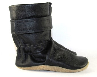 Soft Sole Black Leather Winter Baby Boots 12 to 18 Month