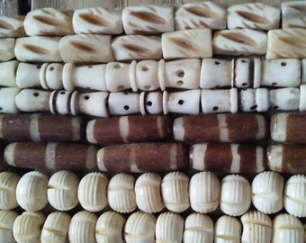 Bone Beads, Carved and Dyed, Four Assorted Strands, Round, Hair Pipe, Half Inch, One Inch, Jewelry Supply Assortment #3BB Handmade beads