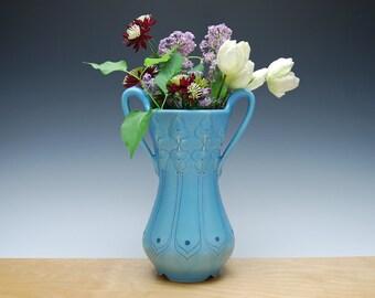 Flower vase w. handles in Aqua w. Navy dots & detail, Victorian modern Home decor