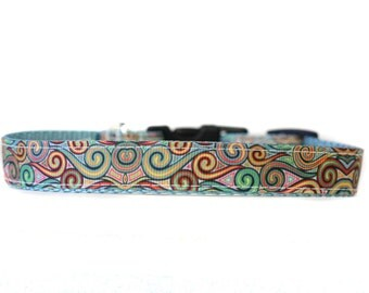 5/8 or 3/4 Inch Wide Dog Collar with Adjustable Buckle or Martingale in The Mod