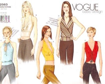 Evening Halter tops Chic modern fashion sewing pattern Vogue 2563 Sz 8 to 12  Size