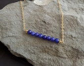 Lapis Row Necklace, Row of Beads, Blue Bead Bar Necklace, Lapis Lazuli, Lapis Beads, Blue and Gold, Gold Filled Chain