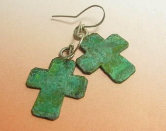 Verdigris Cross earrings, Metalsmith Rustic Earrings, Verdigris Earrings, Mixed Metal Earrings, Bronze Earrings, Green Patina Earrings