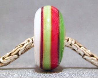 Red, White & Green Handmade Stripe Lampwork Glass Bead Euro Bracelet Charm Christmas Ribbons