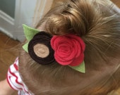 Buckeye headband // Ohio State hair clip // Scarlet and Gray // Buckeye football // Red Rose // Game Day Headband // Buckeyes Hair Clip