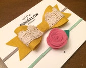 Mustard Bow Headband // Felt Bow // Lace // Rose // Flower // Yellow Bow // Photo Prop // Baby Headband // Wool Felt // Hair Clip
