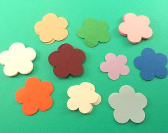 Scrapbook Embellishment, Card Making Supplies, Hand Punched Flowers, 5 Petal Flowers, White, Burgundy, Pink, Blue, Kraft Flowers