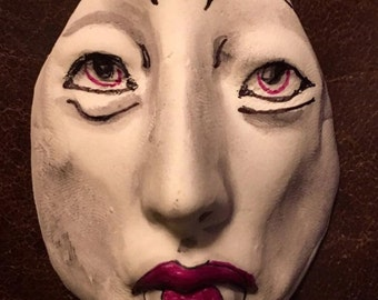 Vampire clay face jewelry horror craft supplies Dracula fangs handmade cabochon large man mask polymer findings doll parts head mask  tribal