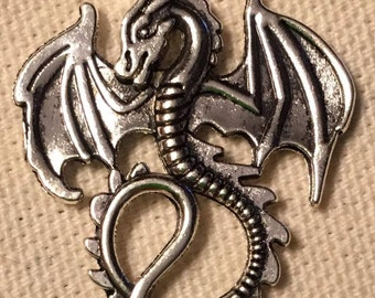 silver dragon charm pendant   jewelry findings pendant   supplies (D3)   qty:  2