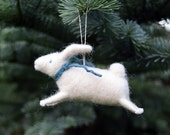 Leaping White Rabbit - Needle Felted Bunny Christmas Ornament