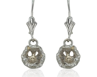 Laurie Sarah Lotus Flower Diamond Earrings - semi mounts hold 6mm round stone - Lotus Flower Collection - LS1992