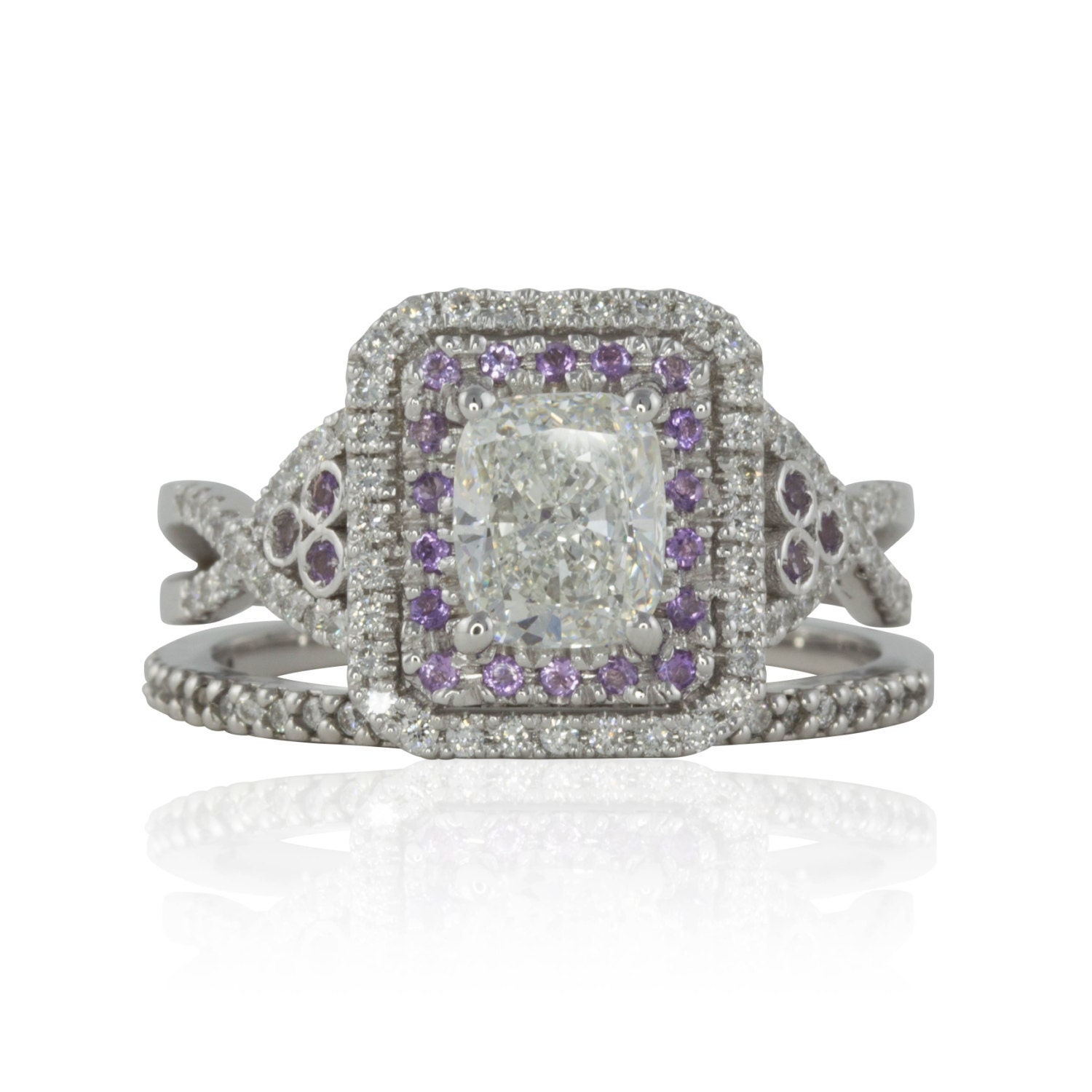 Cushion Cut Engagement Ring 1 25 carat Rectangle Diamond with