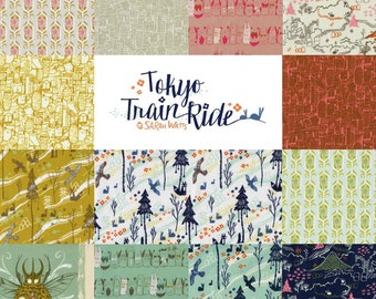 SALE Complete Tokyo Train Ride by Sarah Watts - Fall 2014 Cotton and Steel Fabric  - Charm Square Pack of 13