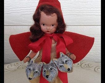Creepy Halloween Decoration Vintage Nancy Ann Bisque Doll as Little Red Riding Hood Halloween Decoration Halloween Ornament TVAT