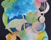 Mother Earth-Art Print of My Original Abstract Watercolor Painting-Flowers, the Moon and the Earth