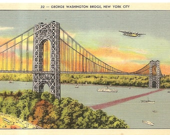 Vintage 1920's -1940's  Linen Postcard Used George Washington Bridge New York City