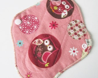Cloth Mama Pad Flannel Panty liner 8 inch - Pink Owls Printed Menstrual Pad FREE Shipping