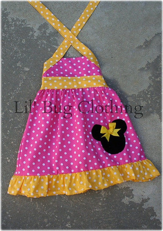 Custom Boutique Clothing Pink and Yellow Minnie Mouse Halter Dress