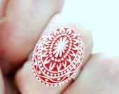 Vintage Lucite Ring, Adjustable Ring, Red and White Mosaic Ring, Silver Metal Ring, Scandinavian Ring, Whimsical Ring, Statement Jewelry
