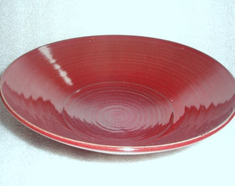 Red or Burgundy Wheel Thrown Pottery Serving Bowl with Textured Exterior