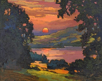In My Dreams - Arts and Crafts CRAFTSMAN - Matted Giclee Fine Art PRINT Sunset 12x12 by Jan Schmuckal