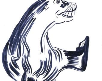 Fin Foot Original Marker Drawing Animal Art Seal Illustration Wildlife Seal Animal Drawing by Niina Niskanen