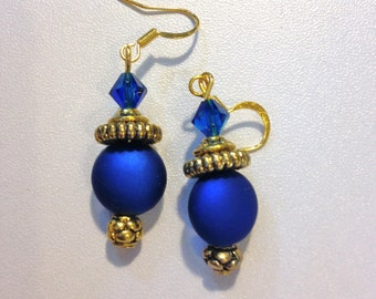 Blue Earrings With Gold - Ornate!