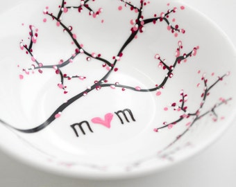 Cherry Blossom Branch Jewelry Dish - Personalized Jewelry Bowl, Mothers Day Gift, Ring Dish, Ring Bowl, Cherry Blossoms, Baby Shower Gift