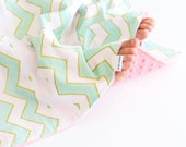 Small Patchwork Blanket for Baby Girl, Mint Green and Gold Chevron with Coral Minky