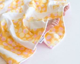 Small Patchwork Blanket for Baby Girl, Modern Martini Minky