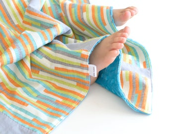 Baby Boy Patchwork Blanket Cascade Stripes (2)