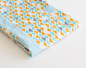 Baby Blanket, Small Patchwork with Minky for Baby Boy Technicolor Triplet Orange