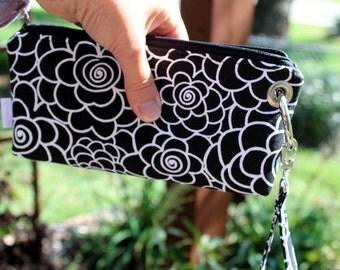Zipper Pouch Clutch Wallet - Long Wallet - Cell Phone - Errand Runner - Evening Bag - Fabric Wallet - Wristlet - Black White Floral