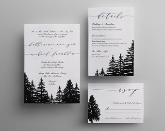 Pine Tree Forest Wedding Invitation - Custom DIY Printable
