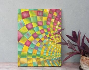 Geometric Fractal Original Oil Painting Color Explosion