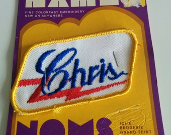 Vintage 80s Chris Name Embroidered Sew on Patch for Cap or Shirt Christine Christopher Christina Christian