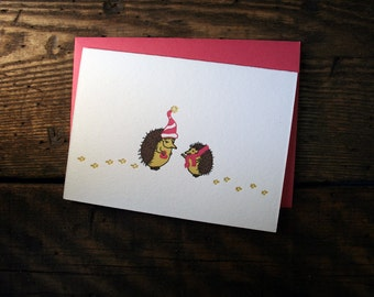 Letterpress Printed Hedgehog Valentine Card - single