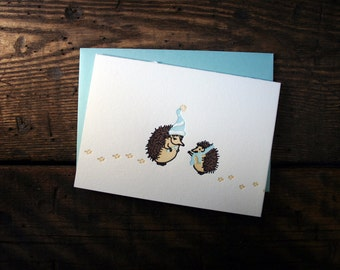 Letterpress Printed Holiday Hedgehog Card - single