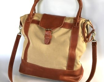 XL luggage bag in canvas/leather combo