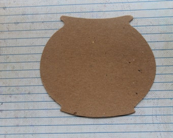 3 Bare chipboard fish bowl diecuts 4 3/8 inch wide