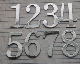 Wedding Table Numbers 1-12 shiny mirror silver 2 inch tall SERIF chipboard number diecuts