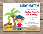 PRINTABLE - Pirate Birthday Invitation - Pirate Invitation - Pirate Party - Ship - Treasure Chest - Parrot - Boy
