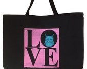 "Pop Art Cat Tote - LARGE 15"" X 20"" Canvas Tote by Angela Bond"