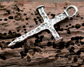 Rustic Nail Cross in Sterling Silver, R-359