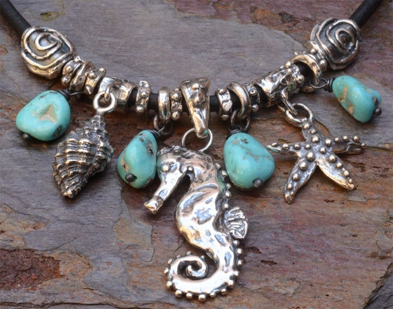 Artisan Sterling Silver Seahorse Necklace, Beach Jewelry with Starfish, Turquoise, and Sea Shells