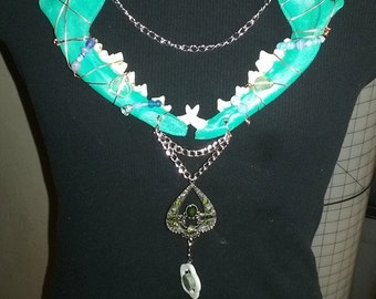 Turquoise Coyote jawbone necklace