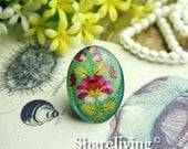 20% OFF SALE - 2pcs 30x40mm Handmade Photo Glass Cabs Cabochons (Vintage Floral)  -- BCH401F